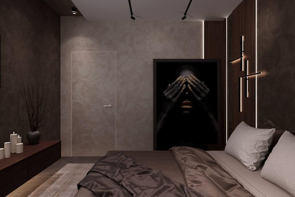темный дизайн спальни
