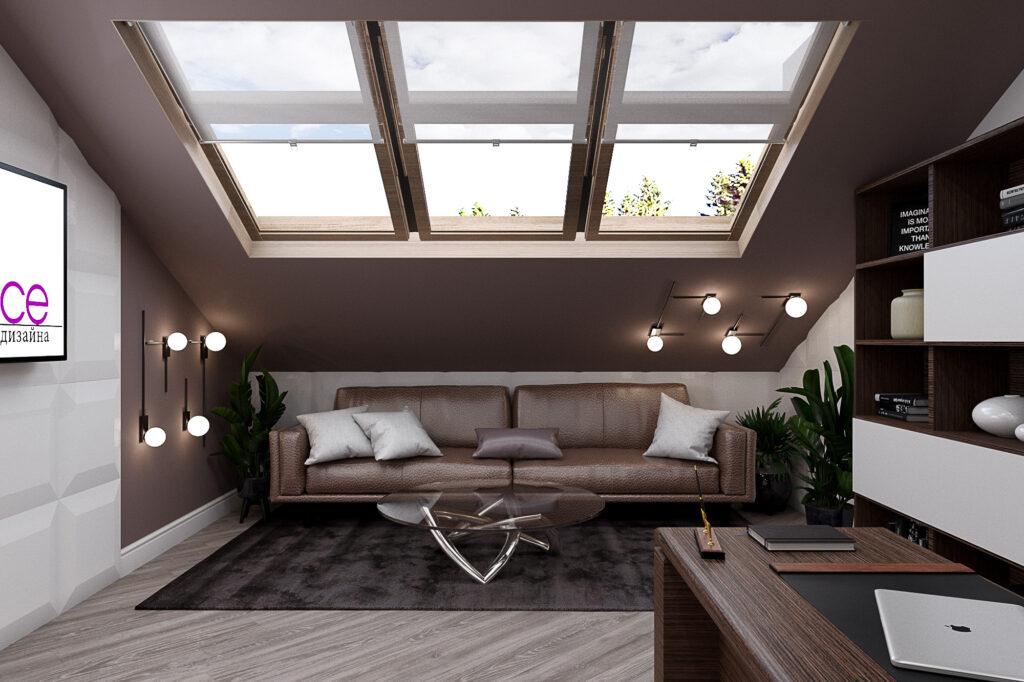 дизайн кабинета с мансардным окном